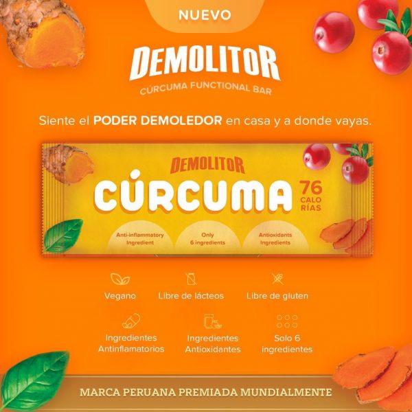 Demolitor Curcuma functional bar protein energy sustainable protein antiinflamatory antioxidant